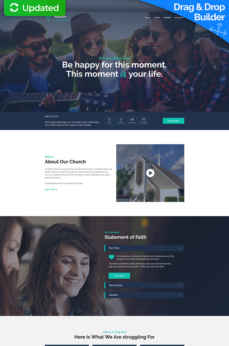 Modern Church - Religious MotoCMS 3 Landing Page Template