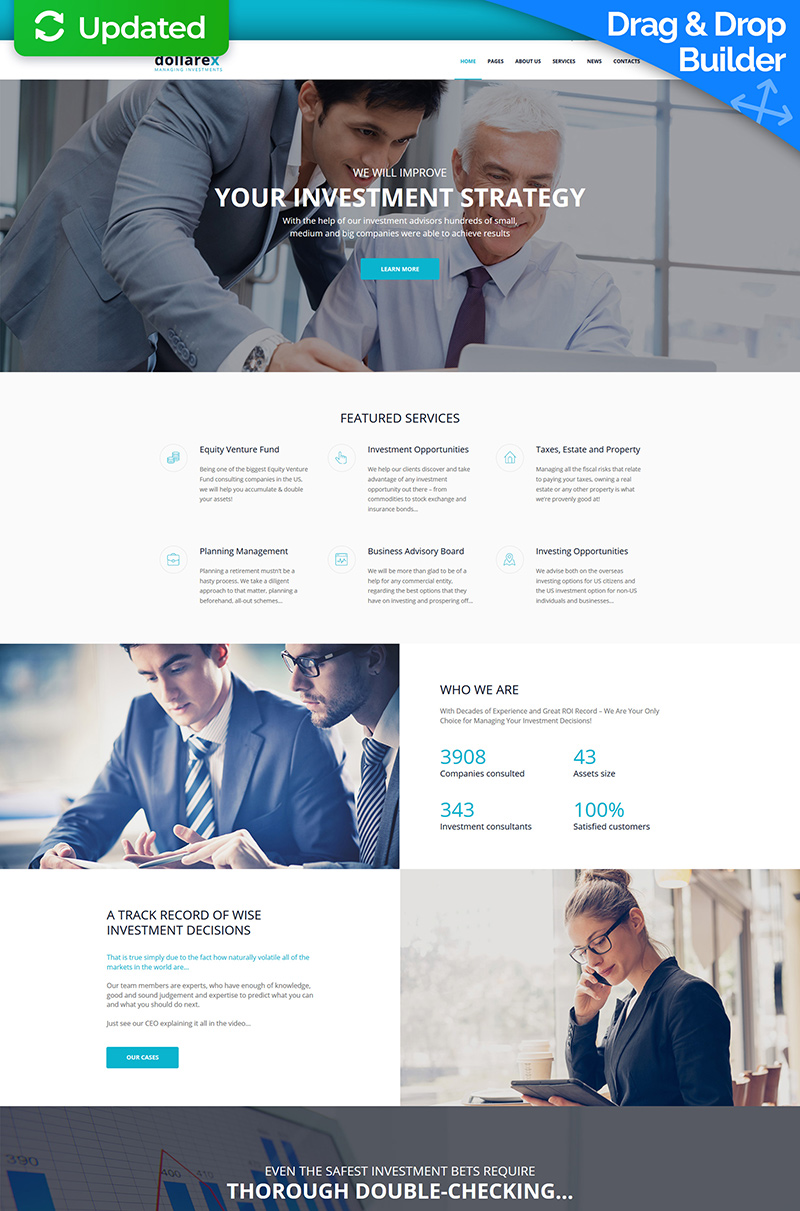 """Moto CMS 3 Template namens """"Dollarex - Investment Company"""" #67978"""