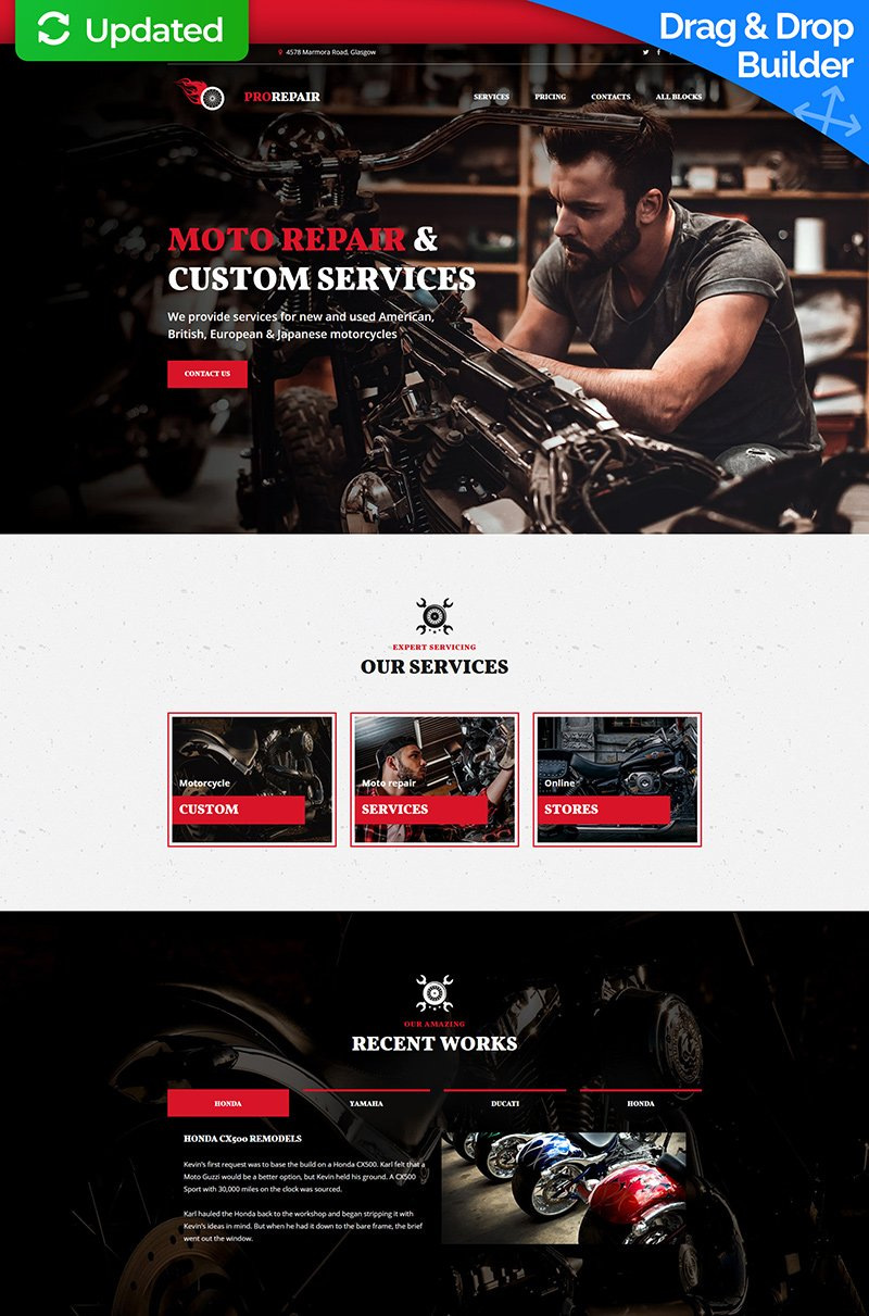 """Motorcycle Repair Company MotoCMS 3"" 响应式着陆页模板 #67970"