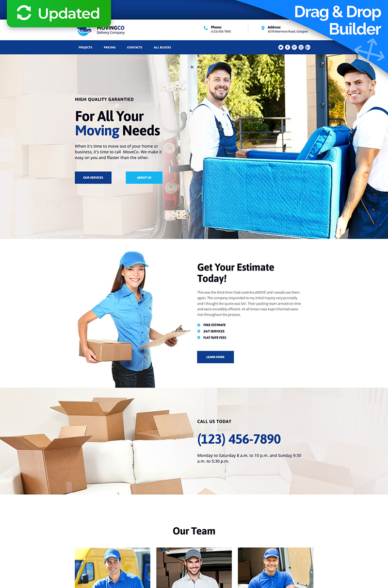 Packing and Moving Company MotoCMS 3 Landing Page Template