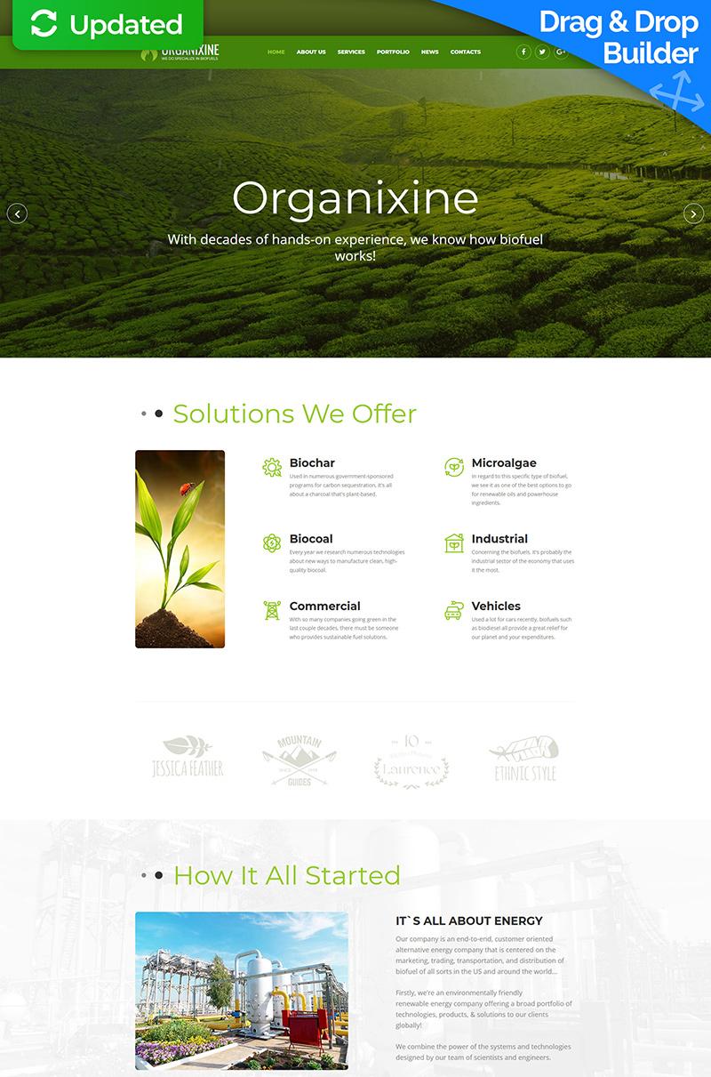 "Plantilla Moto CMS 3 ""Organixine - Green Energy"" #67998"