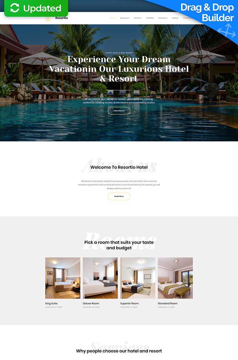 """Resortio - Premium"" Responsive Moto CMS 3 Template №67976 - screenshot"