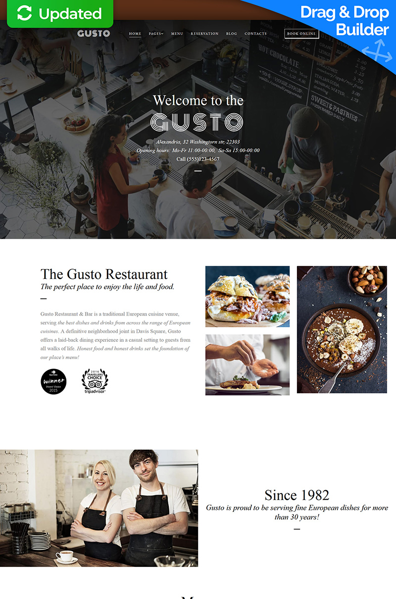 "Responzivní Moto CMS 3 šablona ""Gusto - Cafe & Restaurant Responsive"" #67988"