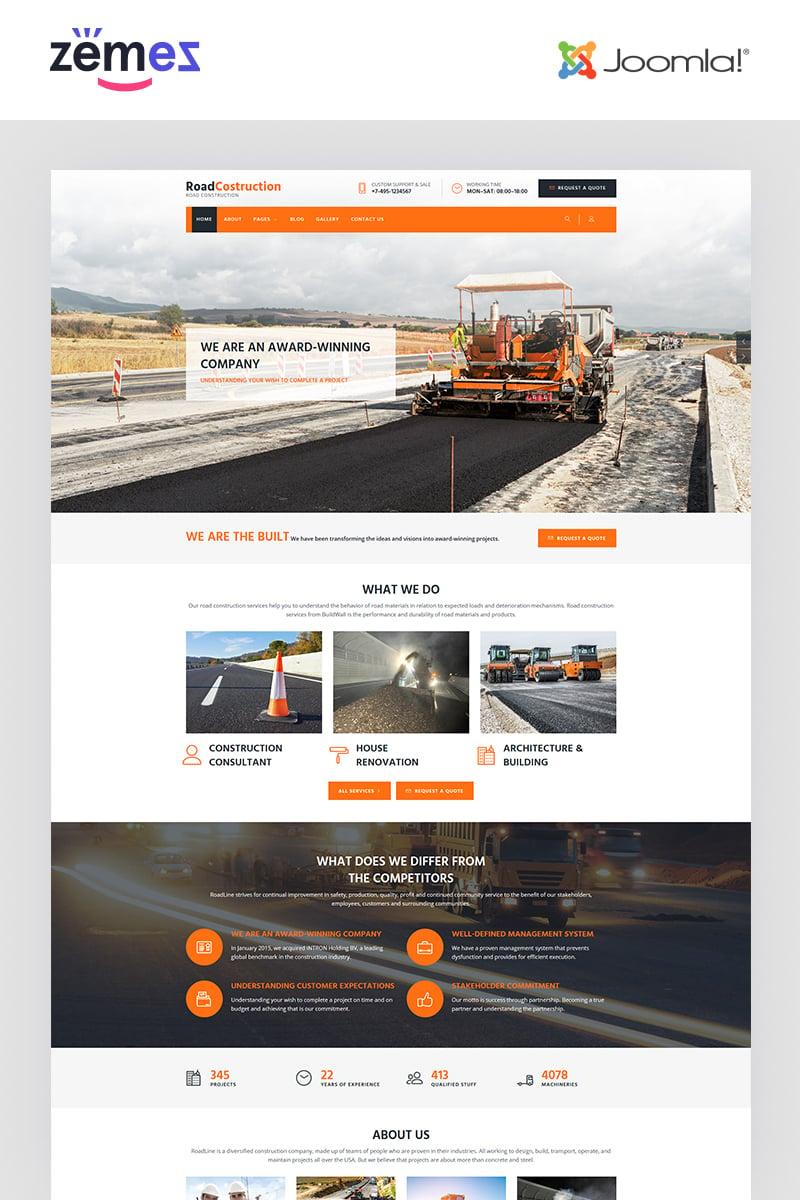 """RoadLine - Solid Road Consrtuction Company"" - адаптивний Joomla шаблон №67937"