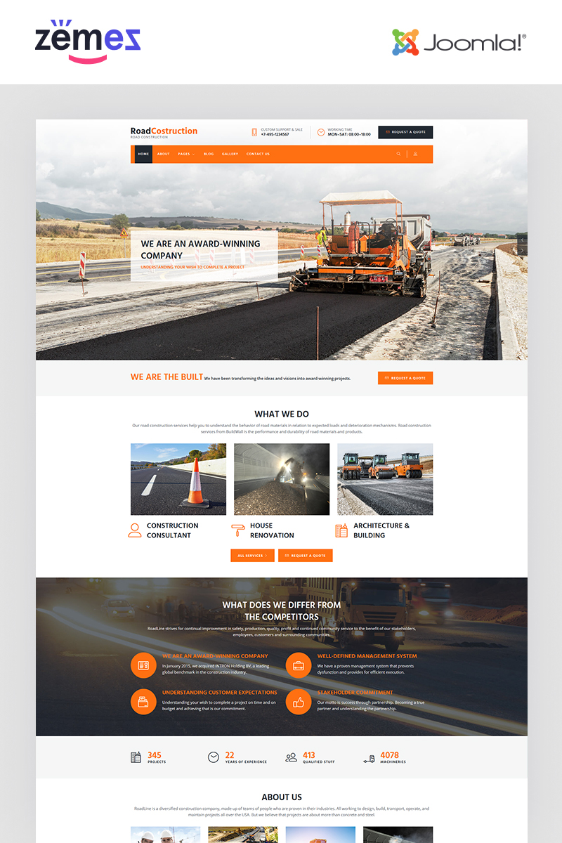 """RoadLine - Solid Road Consrtuction Company"" thème Joomla adaptatif #67937"
