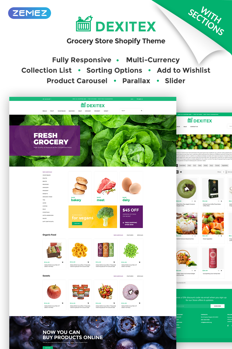 """Tema Shopify """"Dexitex - Convenient Grocery Online Store"""" #67907"""