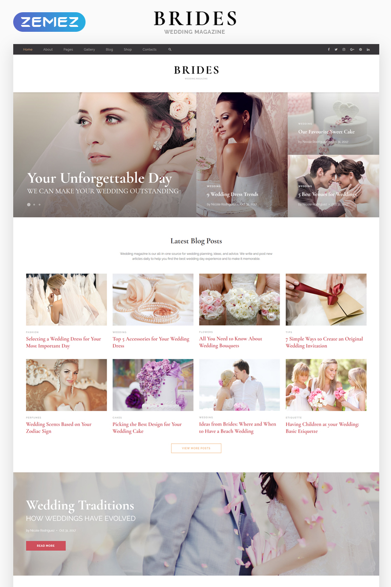 "Tema Siti Web Responsive #67911 ""Brides - Wedding Magazine Multipurpose HTML"""