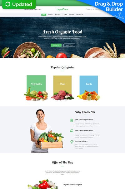 "Template Moto CMS 3 Responsive #67975 ""Organic Farm - Food & Drink"" #67975"