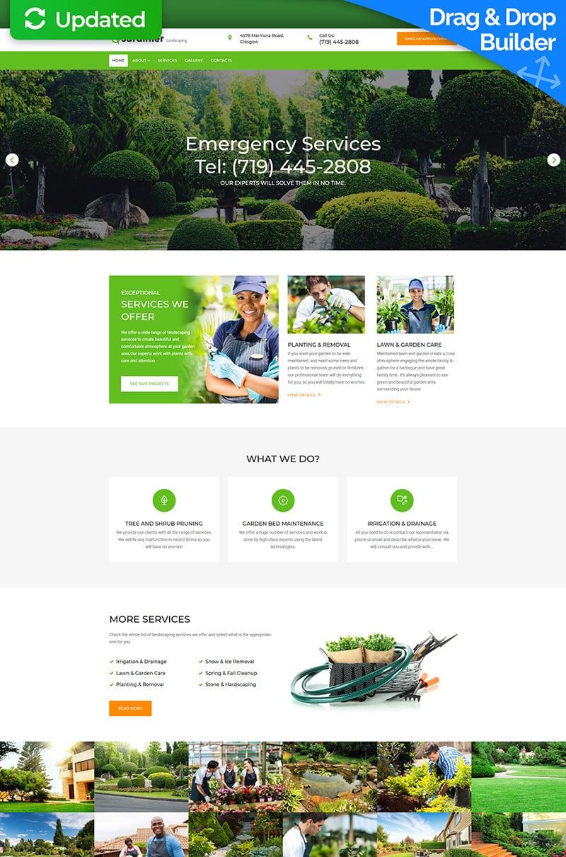 "Template Moto CMS 3 Responsive #67984 ""Jardinier - Landscape Design"""