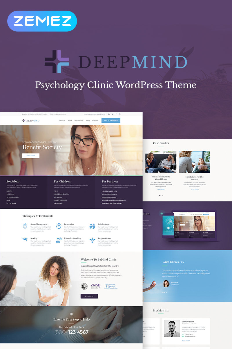 "Template WordPress Responsive #67951 ""Deep Mind - Psychology Clinic"""