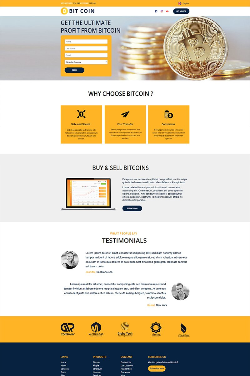 "Unbounce Template namens ""BitCoin - Currency"" #67936"
