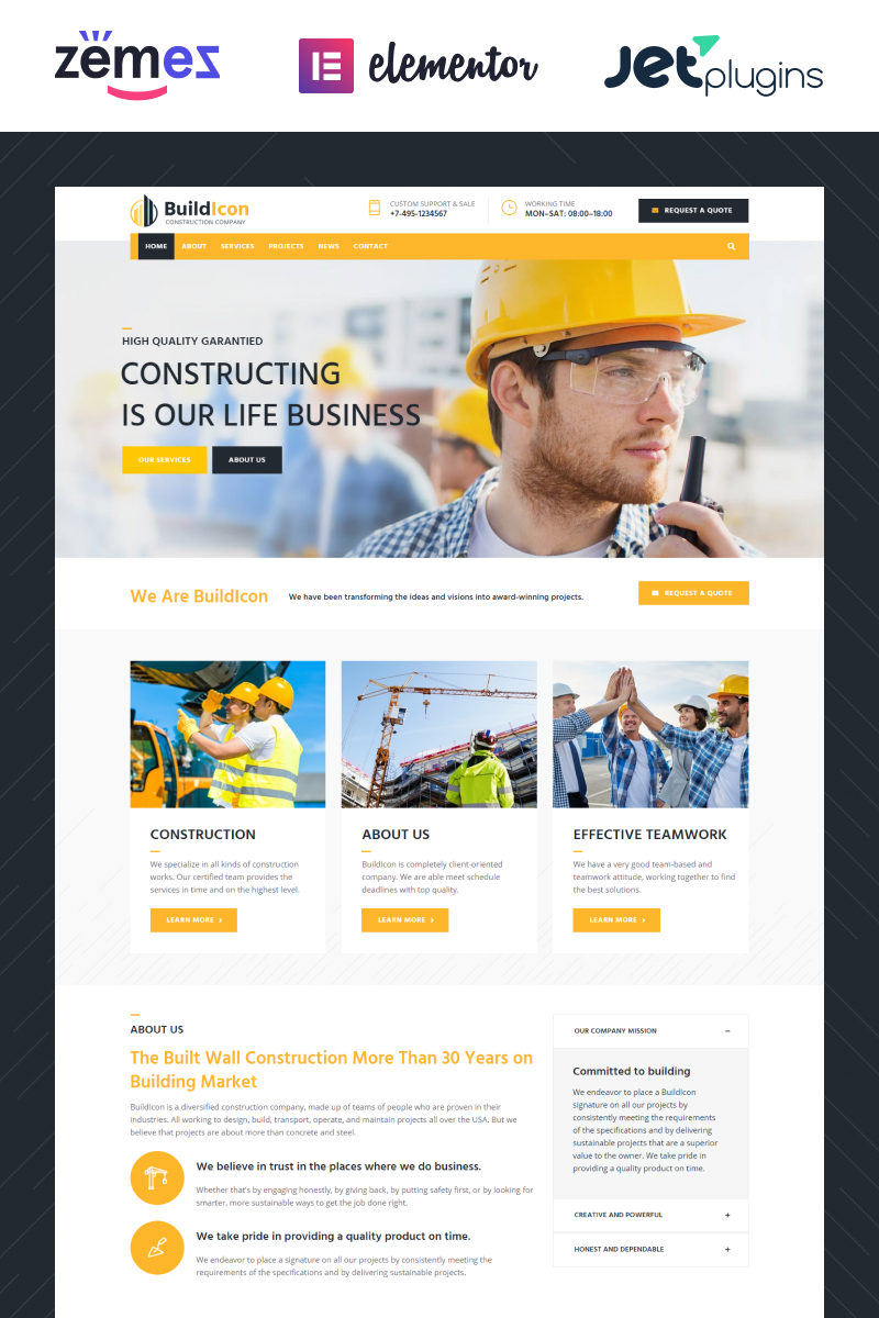 """BuildIcon - Construction Company"" Responsive WordPress thema №68099"