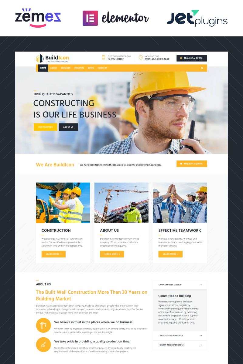 """""""BuildIcon - Construction Company"""" thème WordPress adaptatif #68099"""