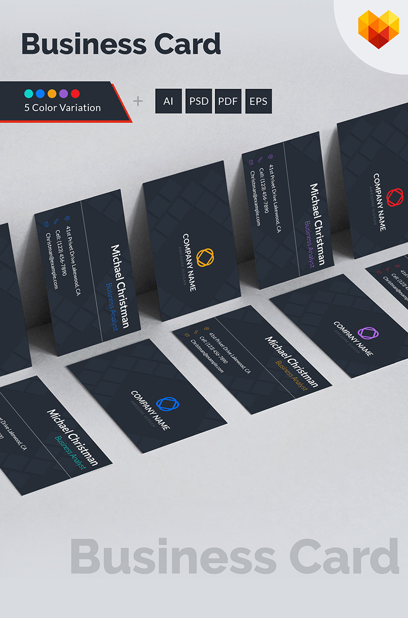 Business Card Template For Business Analyst Corporate Identity