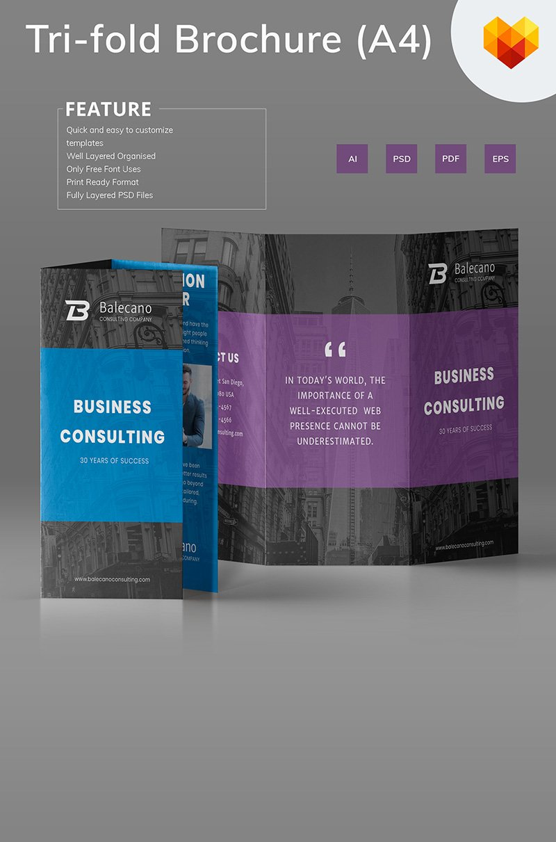 Business Consulting Tri-fold Brochure Corporate Identity Template