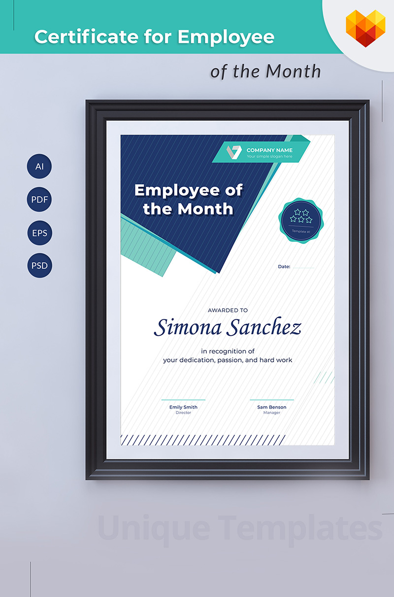Employee of the Month Certificate Template #68043