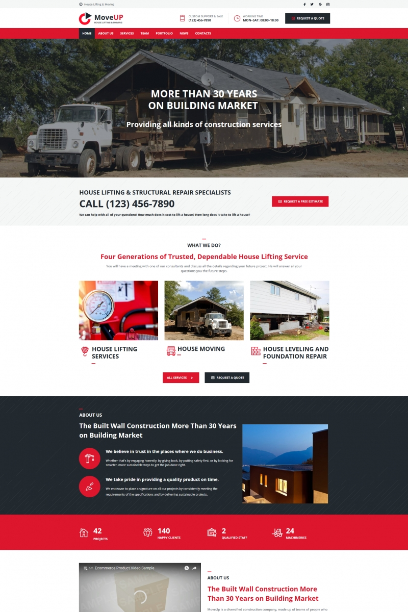 """""""House Lifting and Moving Company"""" Moto CMS HTML模板 #68014"""