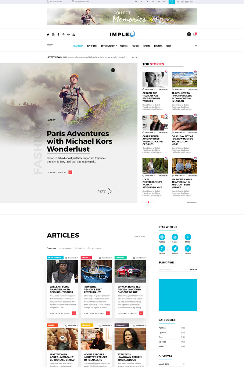 Impleo - Magazine & News Homepage PSD Template