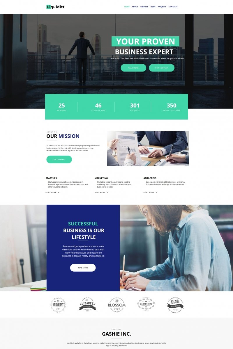 """Liquiditt - Business Consulting"" Moto CMS HTML Template №68015"