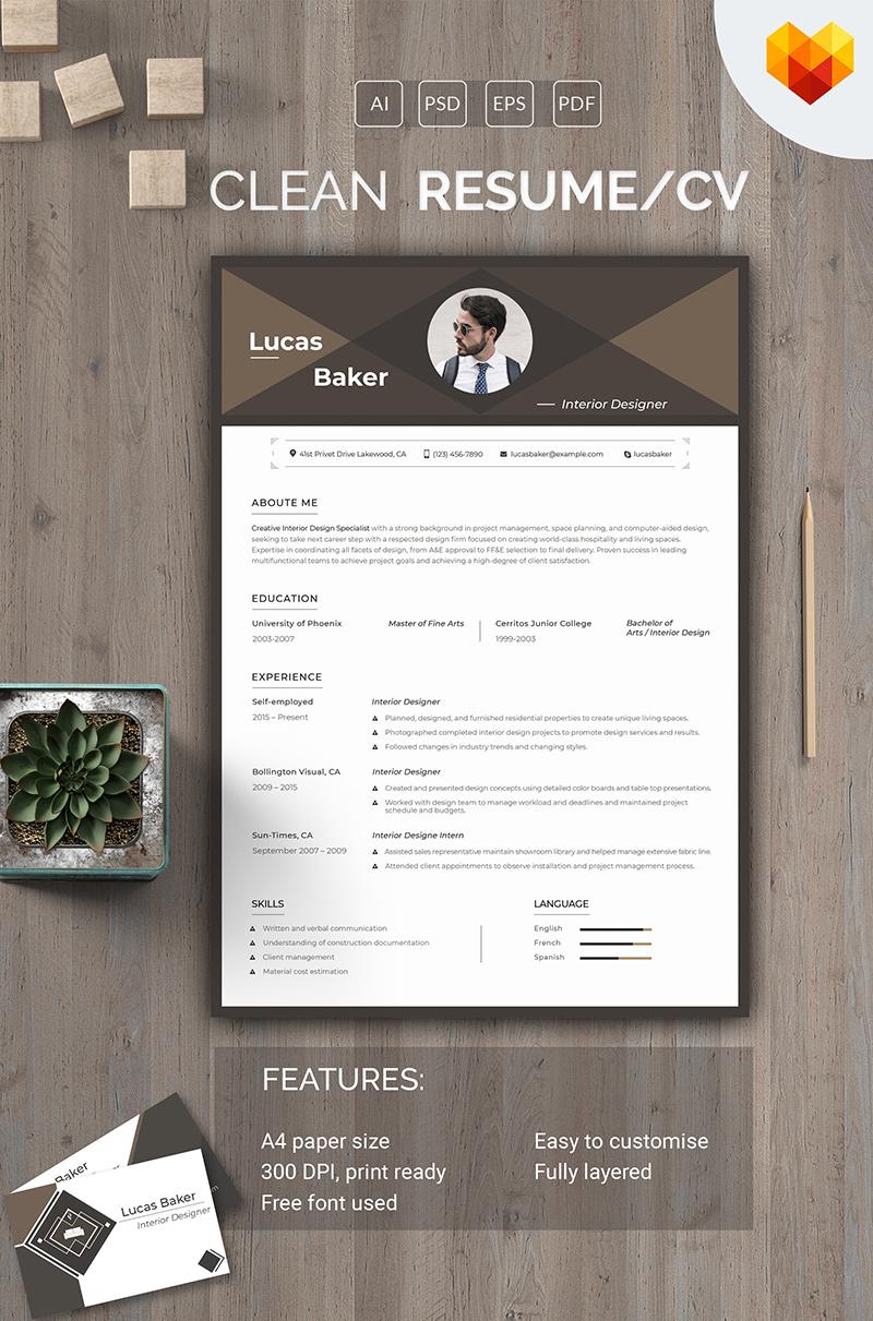 Lucas Baker - Interior Designer Resume Template
