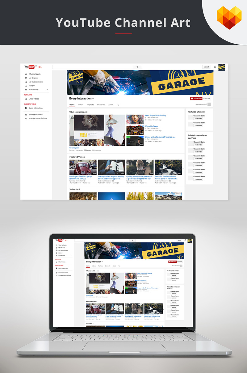 "Medios Sociales ""YouTube Channel Art for Auto Shop"" #68038"