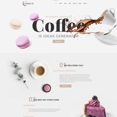 Moto CMS HTML Vorlage #68016 für Kaffeeshop