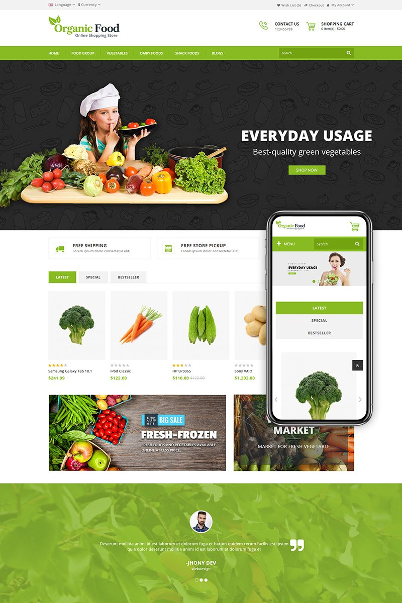 Organic Food Store Template OpenCart №68072