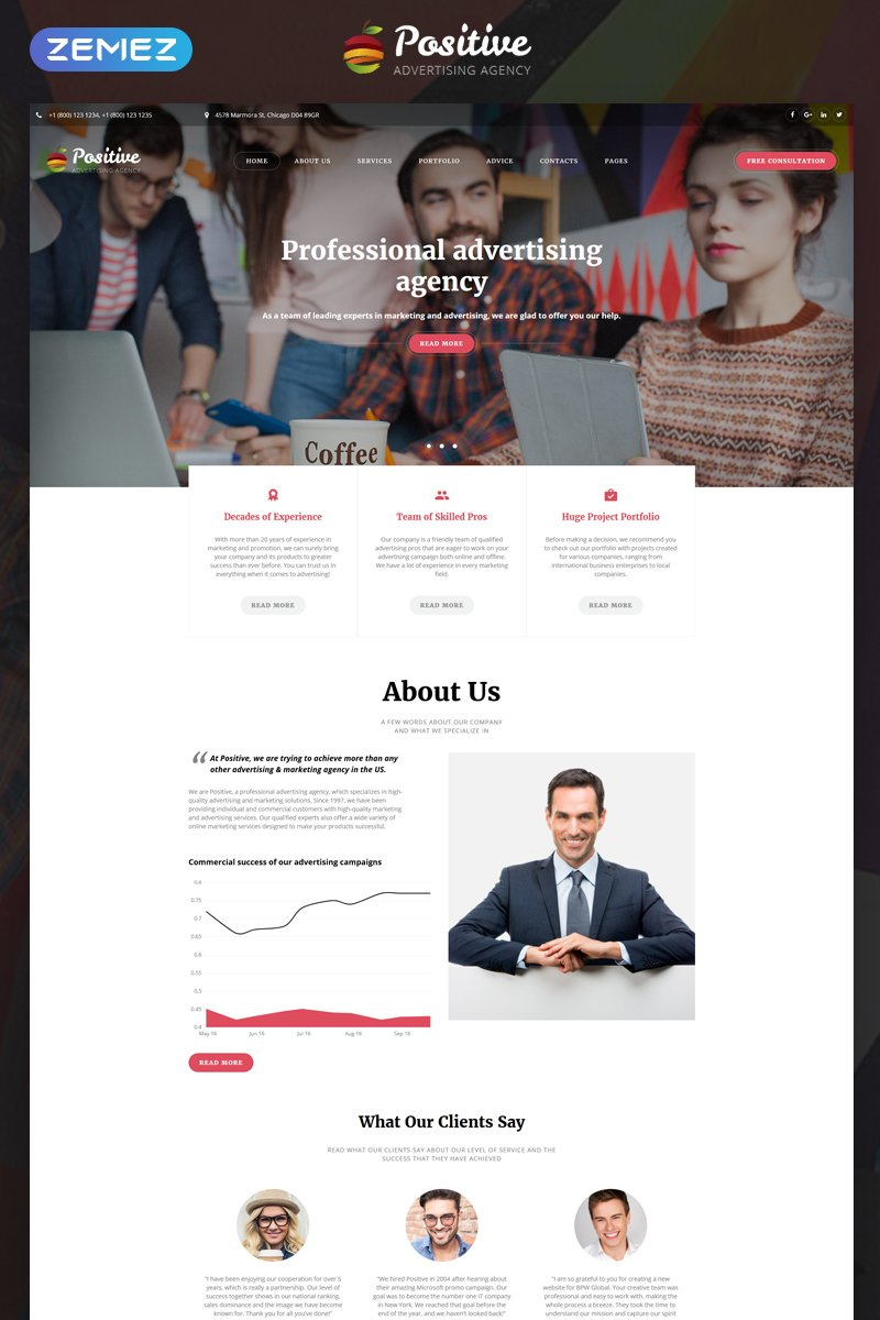 Positive - Advertising Agency Multipage HTML5 №68082