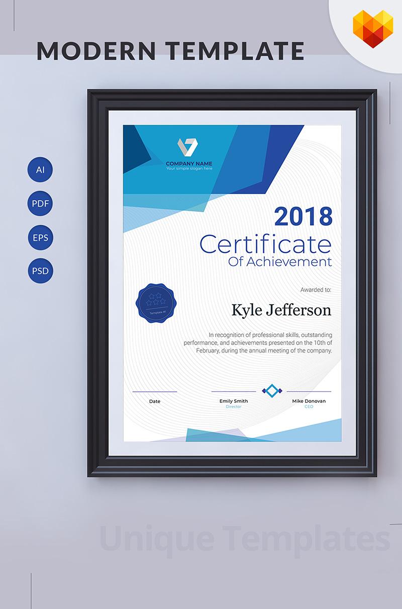 """""""Printable Certificate of Achievement"""" modèle de certificat  #68051"""