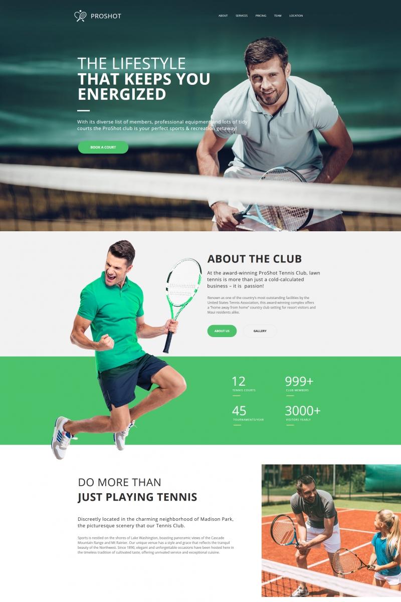 """ProShot - Tennis Club"" modèle Moto CMS HTML  #68017"