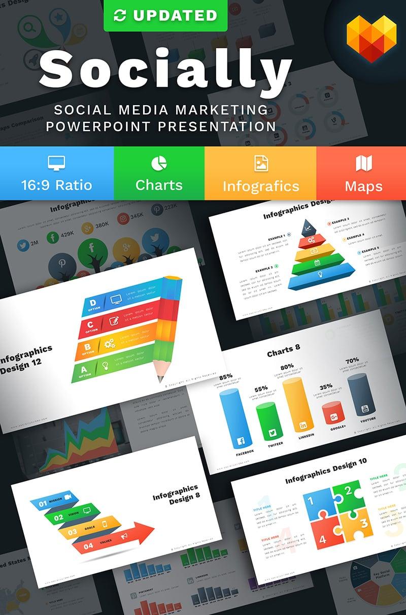 """""""Social Media Marketing Slides - Socially"""" PowerPoint 模板 #68041"""