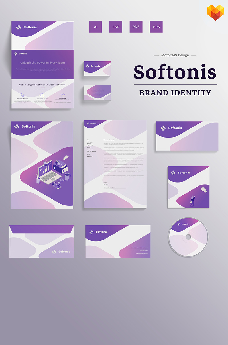 Softonis Company Branding Design Corporate Identity Template