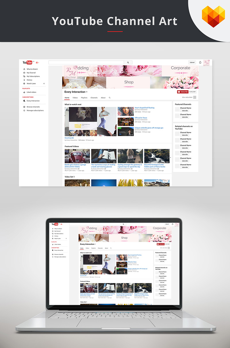 "Soziale Medien namens ""YouTube Cover Template for Floral Designer"" #68035 - Screenshot"