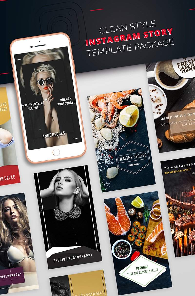 "Tema Social Media #68037 ""Clean Style Instagram Story Package"""