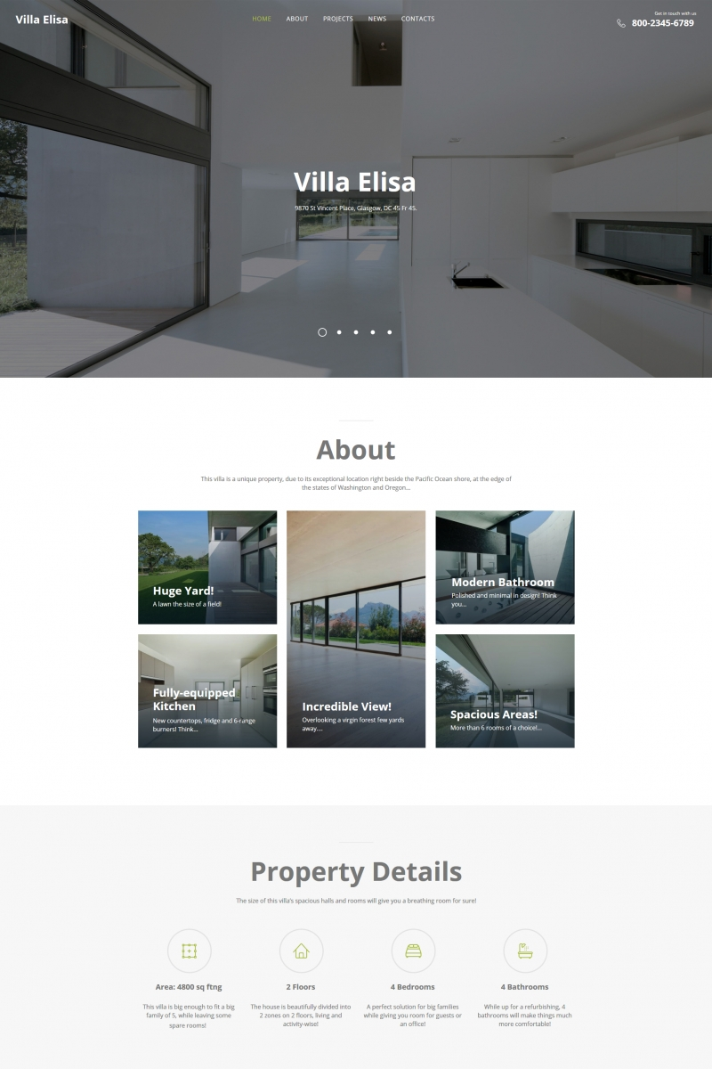 Villa Elisa - Real Estate Moto CMS HTML Template