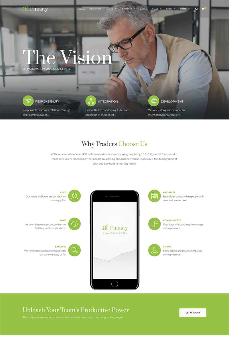 "WordPress Theme namens ""Finasty - Efficient Business Services"" #68085"