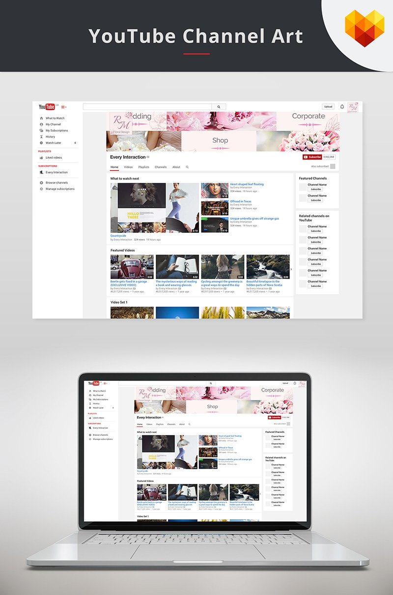 """YouTube Cover Template for Floral Designer"" média social  #68035"