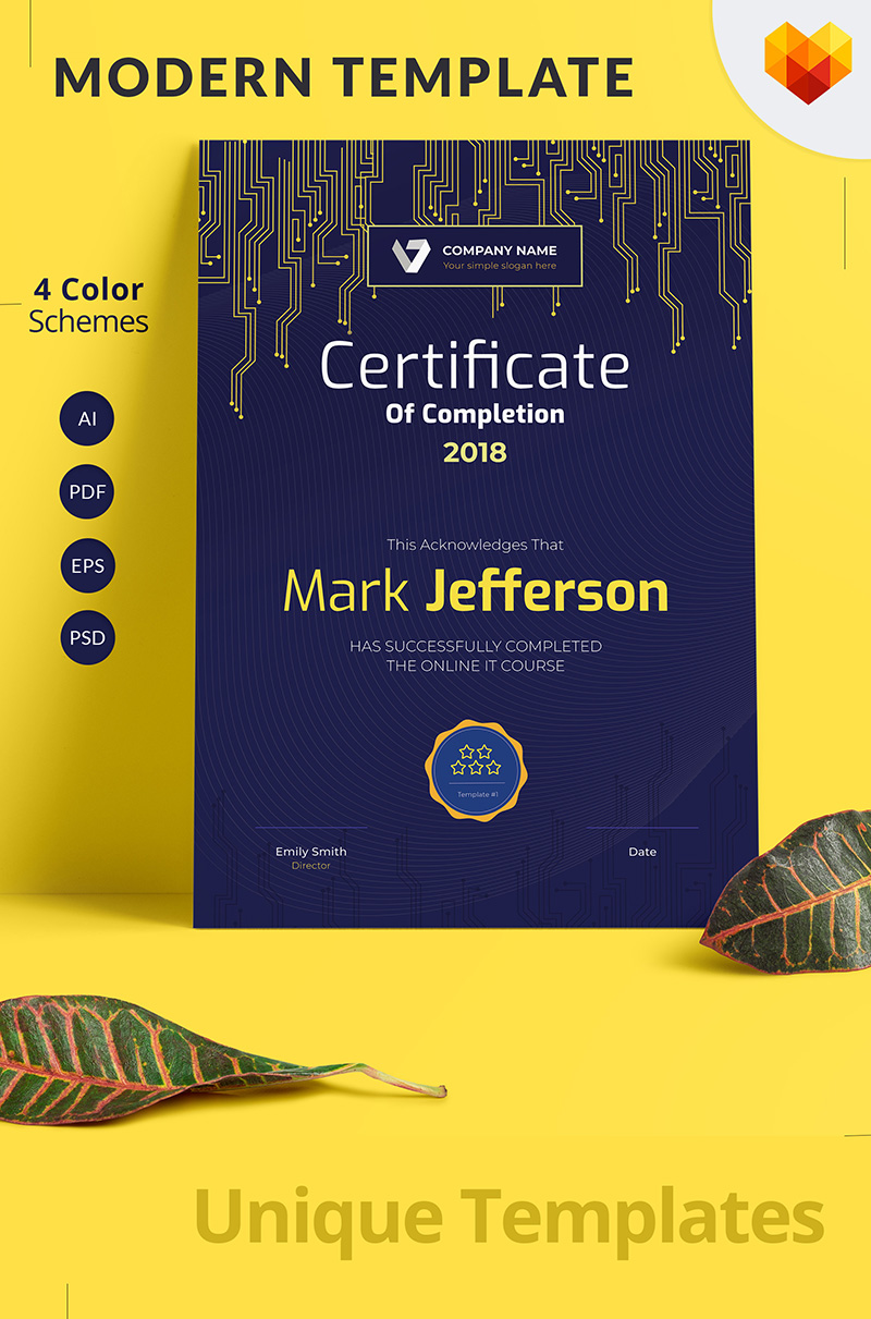 "Zertifikat-Vorlage namens ""Certificate of Completion"" #68046 - Screenshot"