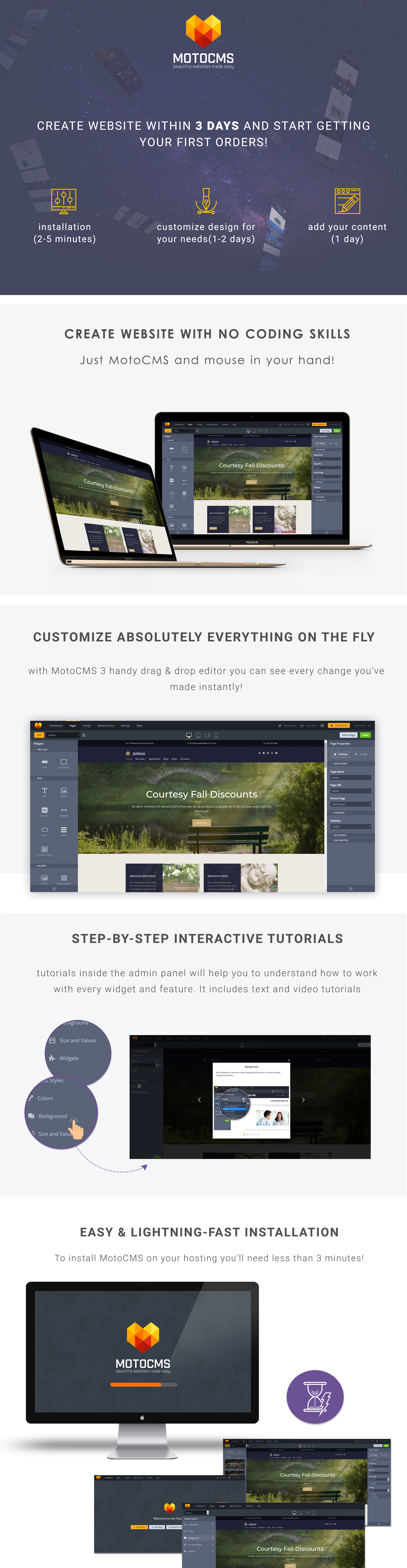 Funeral & Cemetery Services Moto CMS 3 Template