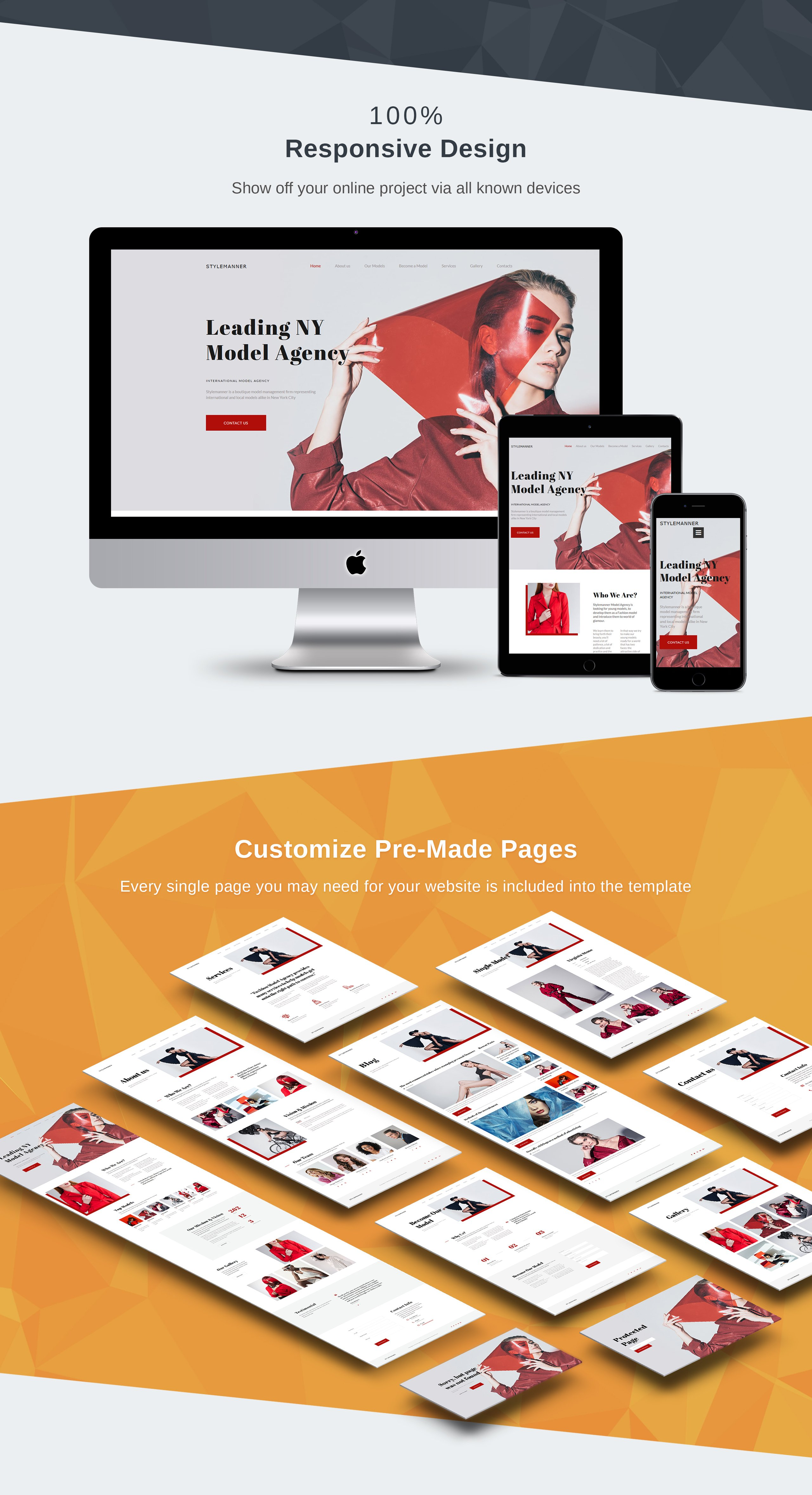 Model Agency Premium Moto CMS 3 Template