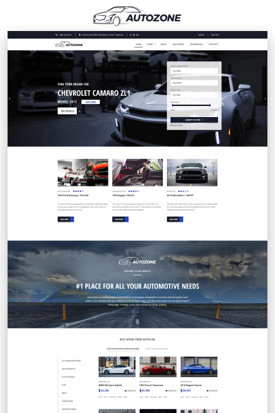 Autozone - Auto Dealer Bootstrap HTML5 Website Template #68156