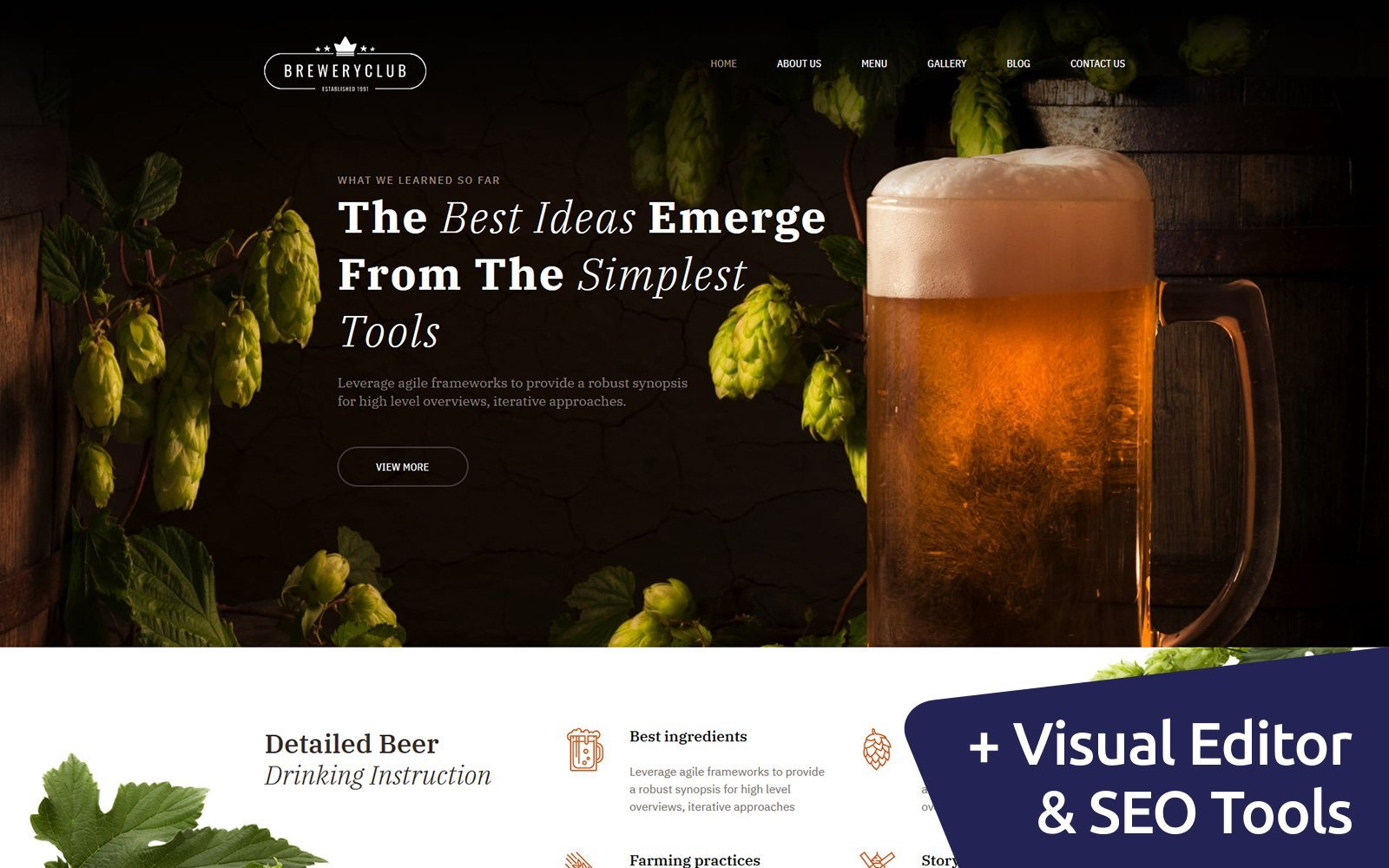 """Brewery Club Premium"" Responsive Moto CMS 3 Template №68191 - screenshot"