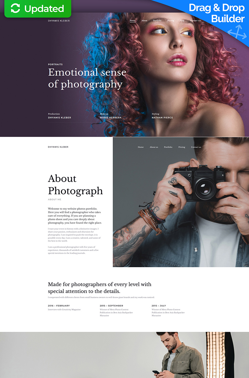 """Dhyamis Kleber - Photographer Portfolio Premium"" modèle Moto CMS 3 adaptatif #68199"