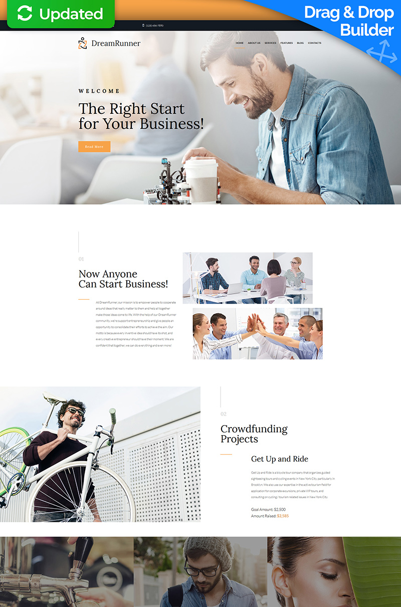 """DreamRunner - Business Bureau"" 响应式Moto CMS 3 模板 #68173 - 截图"
