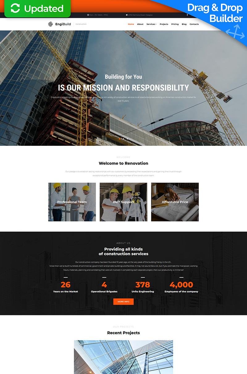 EngiBuild - Construction Company Moto CMS 3 Template - screenshot
