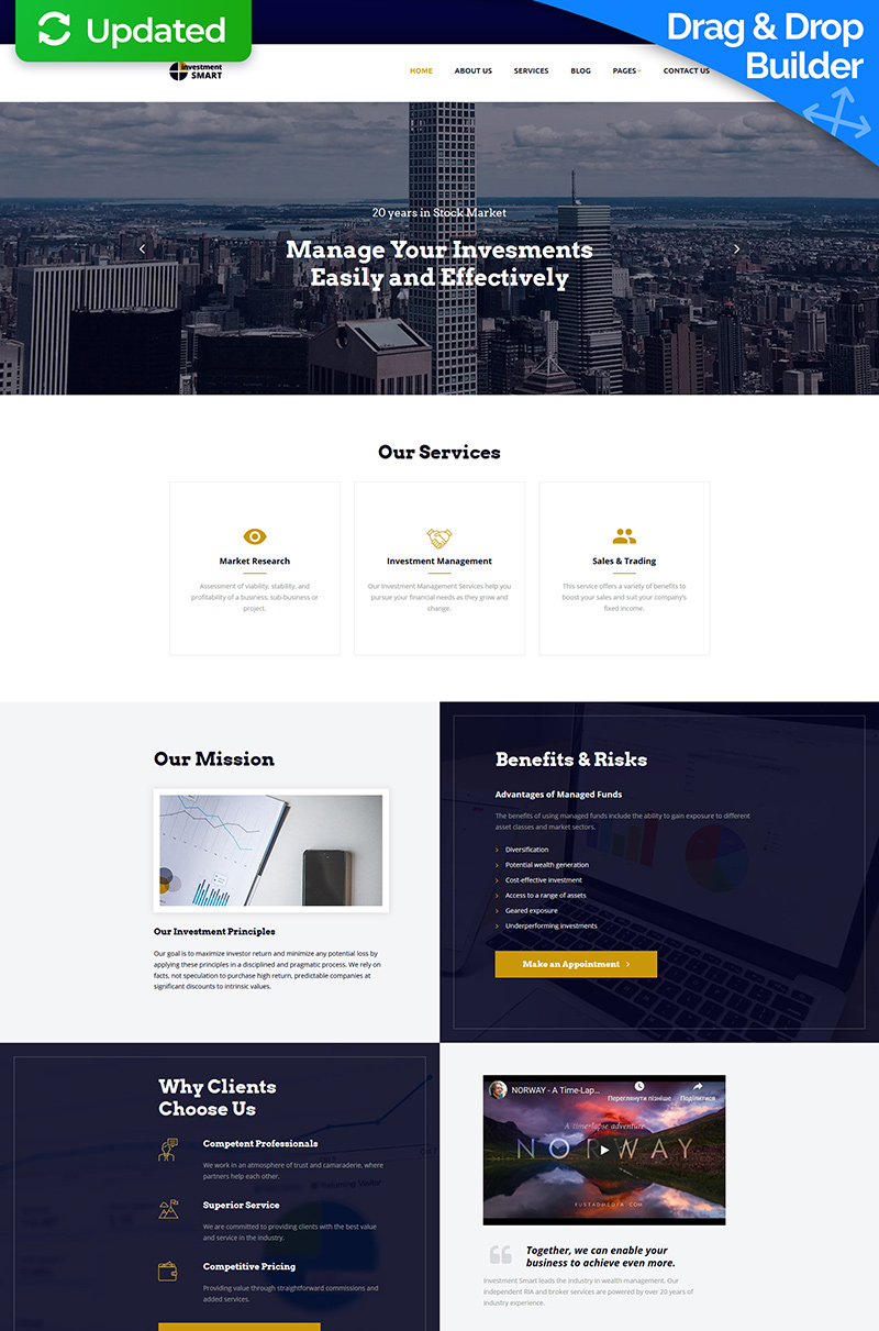 """""""Investment Smart - Solid Investment Agency"""" modèle Moto CMS 3 adaptatif #68170"""
