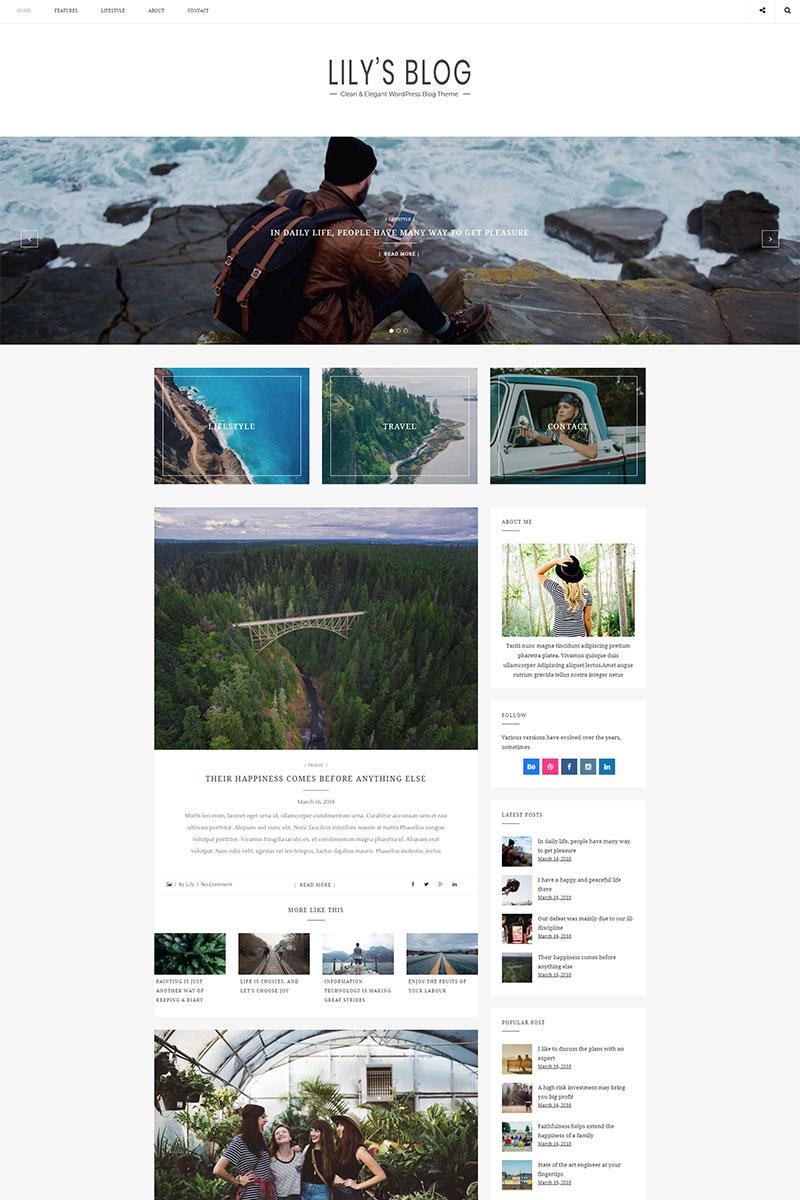 """Lily - Clean & Elegant Blog"" thème WordPress  #68144 - screenshot"