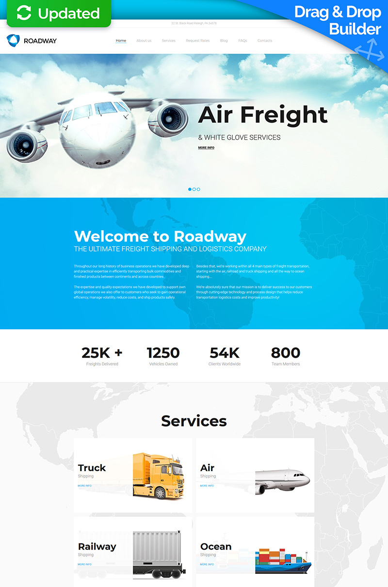 Logistics & Transportation Services Moto CMS 3 Template - screenshot