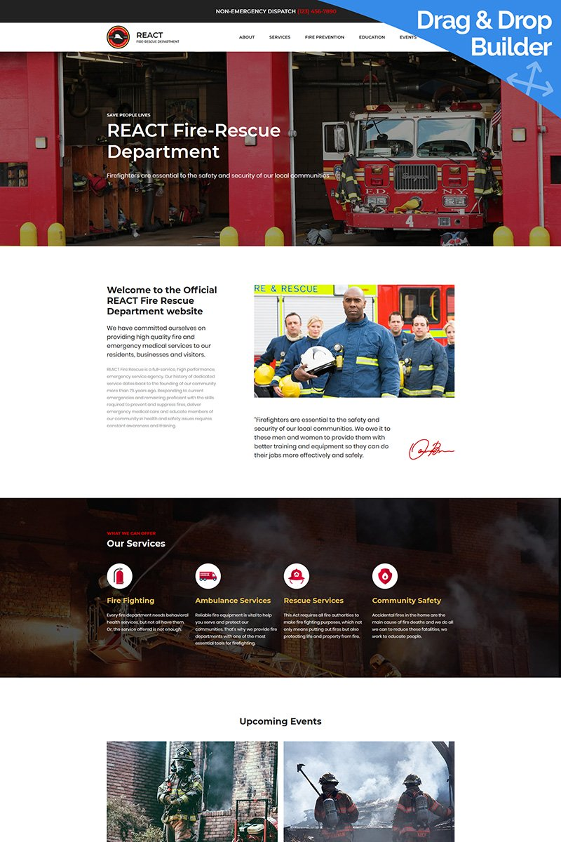 "Modello Moto CMS 3 Responsive #68195 ""Fire Department Premium"""