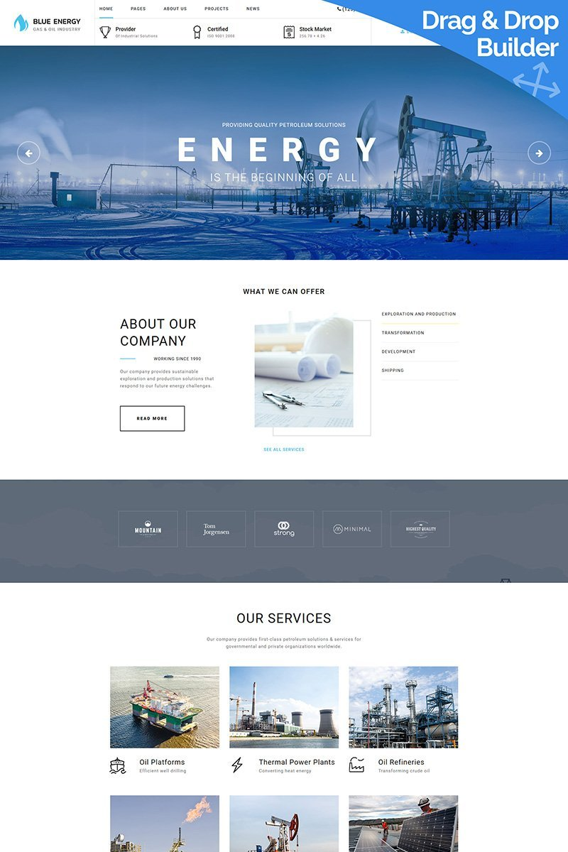 "Moto CMS 3 Template namens ""Blue Energy - Industrial"" #68185"